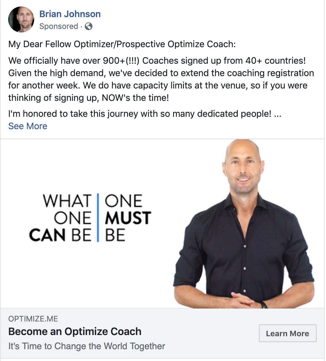 A sample of Brian Johnsons Optimize FB ads
